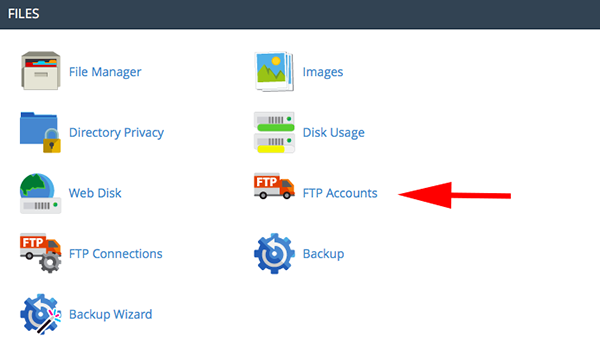 Selecting FTP Accounts from the Dashboard