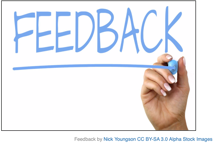 "A hand writes the word ""Feedback"" on a glass board in blue marker."
