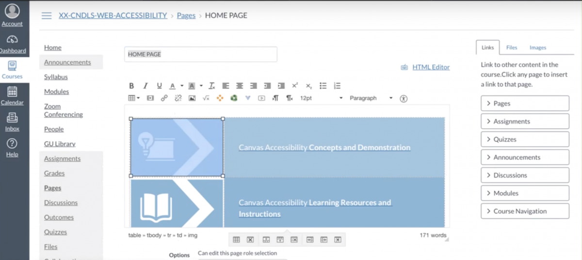 A homepage for a Canvas course which has a table being used to create a two-column layout with icons and text.